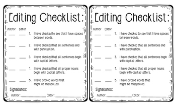 5 Step Editing Poster and Editing Student Checklist