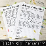 5 Step Paragraph Structure Writing Reference Sheets