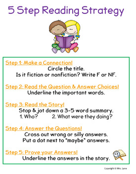Five Step Reading Strategy Poster