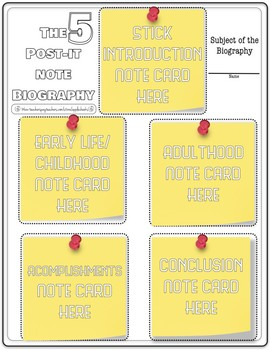 5 Sticky Note Biography Sheet (Free for limited time for followers)