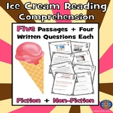 5 Summer Reading Comprehension and Questions: Ice Cream Fun Reading Paired