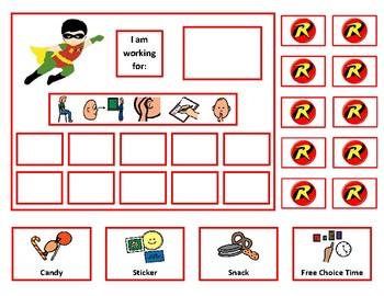 5 Super Hero Token Board Bundle with Behavior Visuals - 10 Tokens