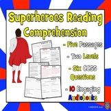 Super Hero Reading Passages, Funny Reading Comprehension, Fun Reading Activity