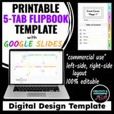 5-Tab Flip Booklet Design Template | Google Slides™ For Printing |Commercial Use
