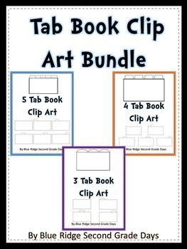 5 Tab Book or interactive notebook Clip Art Set
