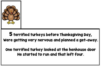 5 Terrified Turkeys Rhyming Book