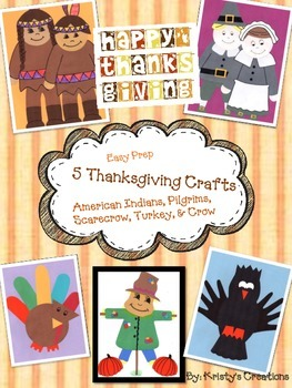 5 Thanksgiving Craft Projects: Pilgrims, Indians, Crow, Sc