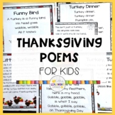 5 Thanksgiving Poems for Kids - Bundle