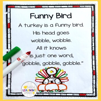 5 Thanksgiving Poems For Kids Bundle By Little Learning