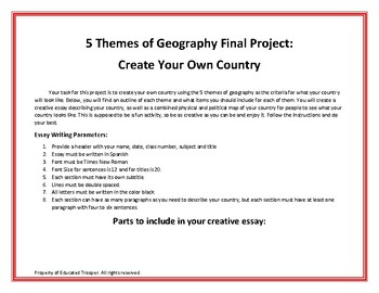 5 Themes of Geography Final Project with Spanish Rubric