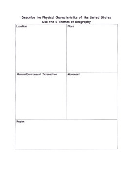 5 Themes of Geography Graphic Organizer