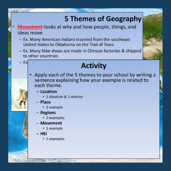 5 Themes of Geography Lesson and Activity