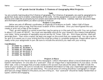Sixth Grade 5 Themes of Geography Mini Projects (Rubrics are a separate item)