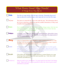 5 Themes of Geography Notes and What Every Good Map Needs Handout