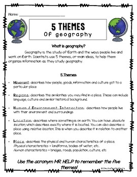 5 Themes of Geography - Notes, Activity, and a Project