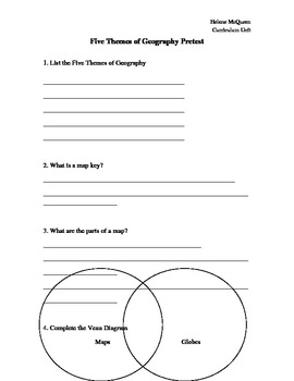 5 Themes of Geography (PBL and Differentiated)