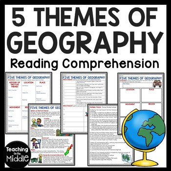 5 Themes of Geography Reading Comprehension; Social Studies; Multiple Activities