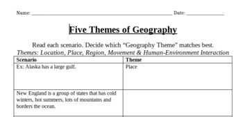 5 Themes of Geography Scenario Practice