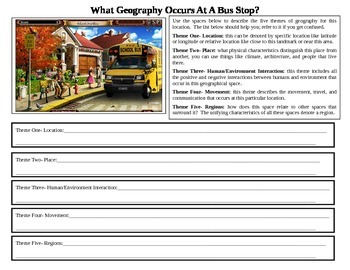 5 Themes of Geography - School Bus Stop