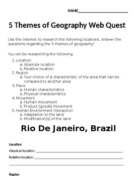 5 Themes of Geography Web Quest