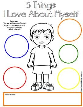 5 Things I Love About Myself Free Printables - Boy & Girl Version - Self Esteem
