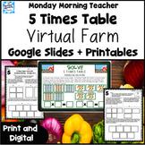 5 Times Table Multiplication Virtual Farm Google Slides Pr
