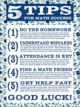 5 Tips for Math Success Student Poster