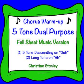 5 Tone Descending Chorus and Vocal Warm-up ♫ Dual Purpose Sheet Music