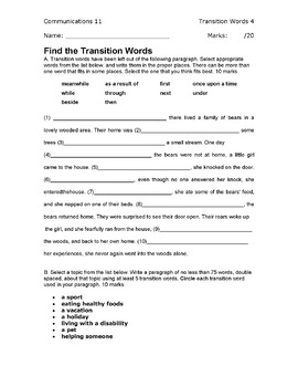 5 Transitions Worksheets/Activities