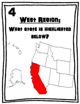 5 U.S. Region All Around the Room Scavenger Hunt Activity BUNDLE