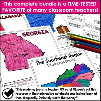 Regions of the United States Interactive Notebook Bundle