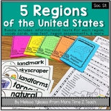 Regions of the United States: Informational Text Booklet, Vocab. Cards & Assess