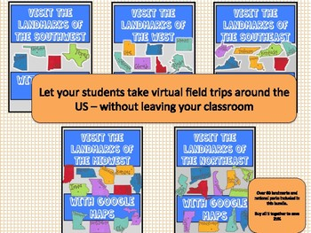 5 US Regions Virtual Field Trip - Bundle