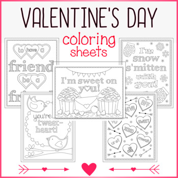 5 Valentine's Day Coloring Sheets