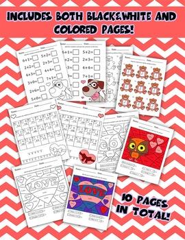 5 Valentine's Day Kindergarten Addition Math Worksheets