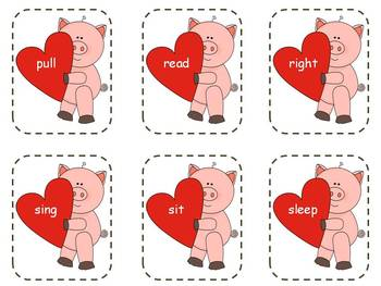 5 Valentines Dolch Sight Word Games