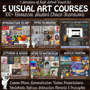 5 Visual Art Courses - Intro to Art, Drawing, Watercolor, Acrylic and Ink