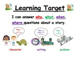 5 W learning target for first grade reading