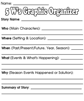 5 W's Graphic Organizer