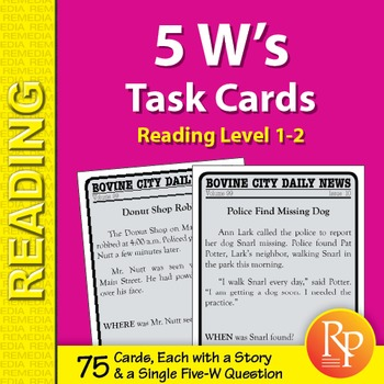 5 W's Task Cards (Reading Level 1-2)