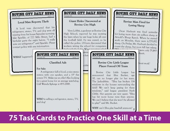 5 W's Task Cards (Reading Level 3-5)