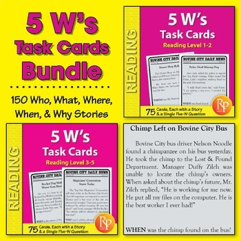 5 W's Task Cards {Bundle}