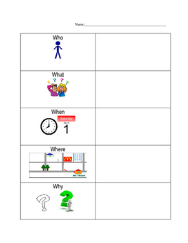 5 W's and Comprehension Worksheets