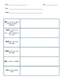 5 W's and a How Reading Comprehension Organizer
