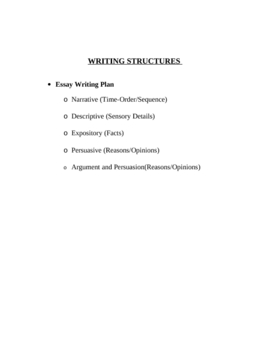 5 WRITING STRUCTURES, WRITING PATTERNS AND ACTIVITIES