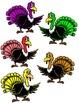 5 Waddling Turkeys