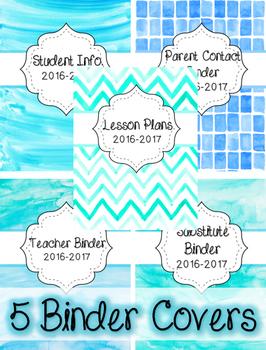 5 Watercolor Binder Covers