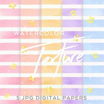 5 Watercolor Floral Stripe digital backgrounds