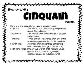 Cinquains: Speech therapy Vocabulary, Synonyms, Adjectives, Verbs