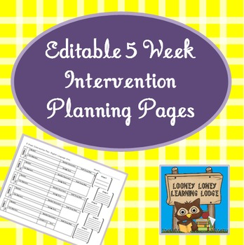 5 Week Intervention Planning Pages